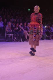 Multi colour sheer blouse with vest and beaded skirt