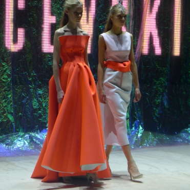Orange neoprene dress and pink top with neoprene skirt with neon detail